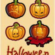 Halloween's drawing - four pumpkin heads of Jack-O-Lantern — Foto de Stock