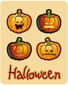 Halloween's drawing - four grimacing pumpkin heads of Jack-O-Lantern — Stock Photo