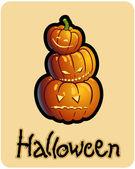 Halloween's drawing - three pumpkin heads of Jack-O-Lantern — Stock Photo