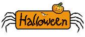 хэллоуин страшно титров с ноги паука и тыква голову — Стоковое фото