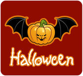 Halloween - a pumpkin head of Jack-O-Lantern with bat's wings — Stock Photo