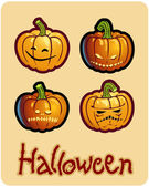 Halloween's drawing - four scary pumpkin heads of Jack-O-Lantern — Stock Photo