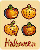 Halloween's drawing - four pumpkin heads of Jack-O-Lantern — Stok fotoğraf