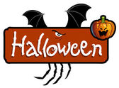 Halloween scary titling with bat wings and a pumpkin head — Stock Photo