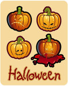 Halloween's drawing - four pumpkin heads of Jack-O-Lantern — Stock Photo