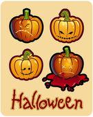 Halloween's drawing - four pumpkin heads of Jack-O-Lantern — Stock Photo