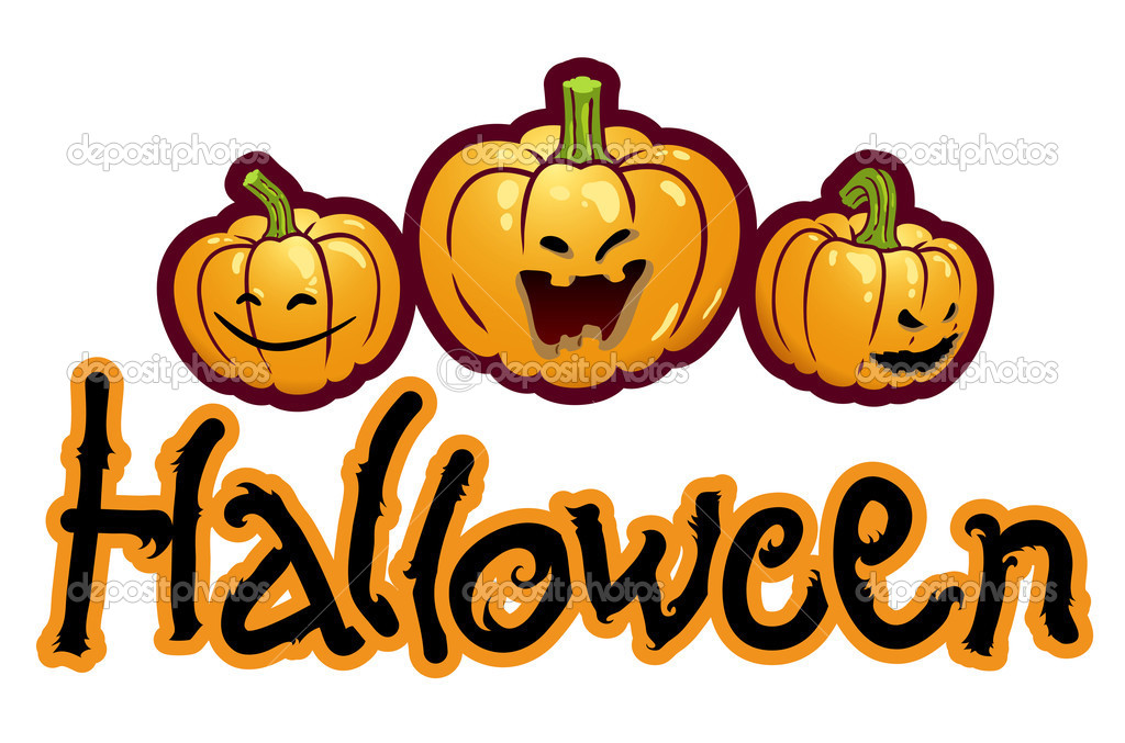 Halloween titling with three pumpkin heads of Jack-O-Lantern  Stock Photo #3899392