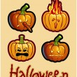 Stock Photo: Halloween's drawing - four pumpkin heads of Jack-O-Lantern