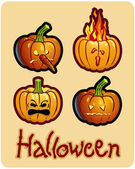 Halloween's drawing - four pumpkin heads of Jack-O-Lantern — Foto Stock