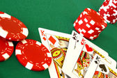 Casino cards and chips — Stock Photo