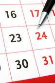 Calendar with pen — Stock Photo