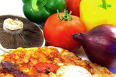 Pizza and ingredients details — Stock Photo