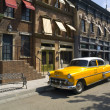 Old American Taxi in a old town - Stock Photo