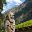 Wooden Viking Statue — Stock Photo