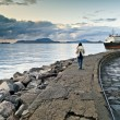 Royalty-Free Stock Photo: Girl having a walk in the docks of Alesund