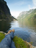Relaxing in the Gudvangen Fjord — Stock Photo