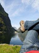 Relaxing in the Gudvangen Fjord — Stock Photo