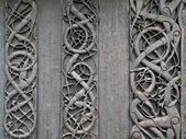 Viking carvings from Urnes viking Church — Stock Photo