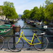 Bicycle in Amsterdam Canal - Stock Photo