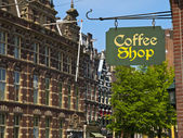 Coffee Shop Sign in Amsterdam — Stock Photo