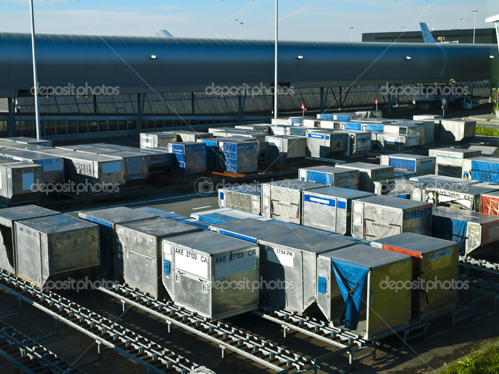 Airport Cargo Containers  Stock Photo #3196562