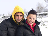 Couple in the snow — Stock Photo