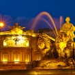 La Cibeles Fountain By Night, Madrid - Stock Photo