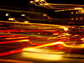 Blurred Lights in Madrid Rush Hour — Stock Photo