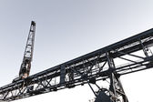 Dockside crane in Inner Harbour of Karlsruhe, Germany — Stock Photo