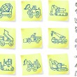Transport drawings on post - Stock Vector