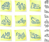 Transport drawings on post — Stock Vector