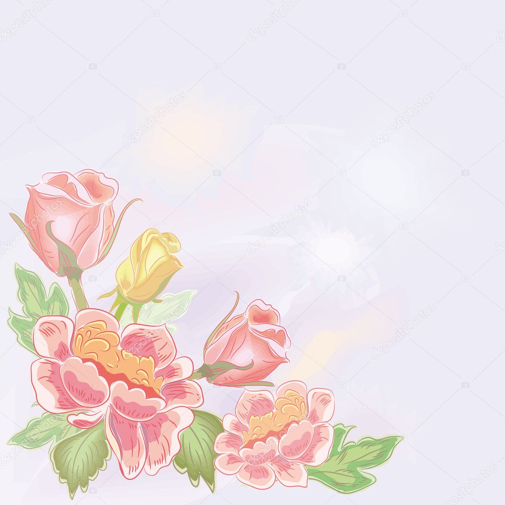 Vector flower illustration in style of a watercolor. — Stock Vector #3208275