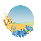 Wheat and cornflowers. — Stock Vector