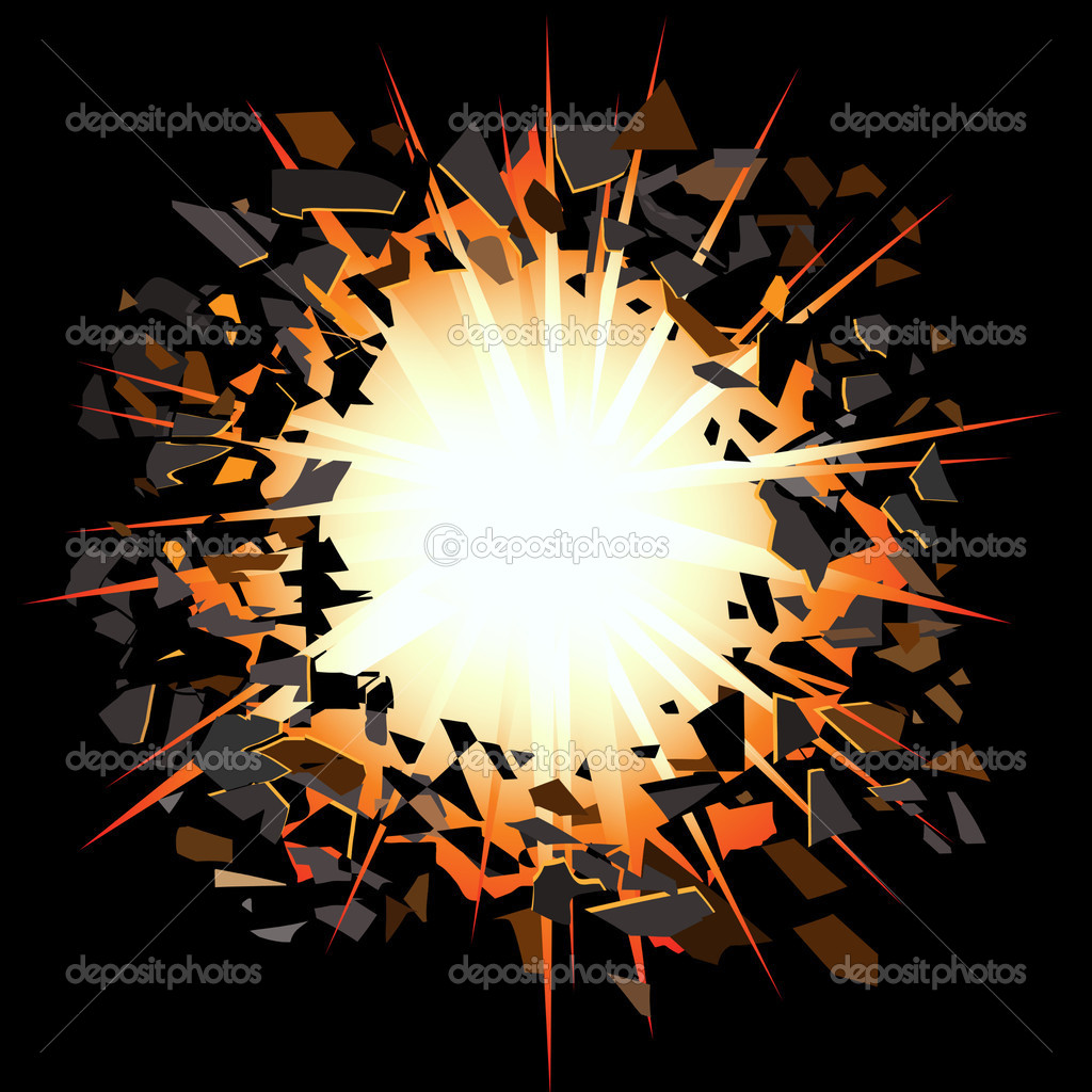 Flash of light and scattering splinters — Stock Vector #3041438