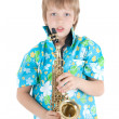 Stock Photo: Boy with saxophone