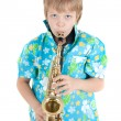 Boy with saxophone — Stock Photo