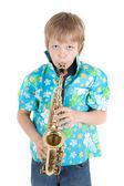 Boy with saxophone — Stock Photo