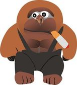 Gorilla with a cigar — Stock Vector