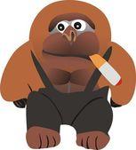 Gorilla with a cigar — Stock Vector