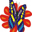 The butterfly and a flower — Imagen vectorial