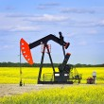 Nodding oil pump in prairies — Stock Photo