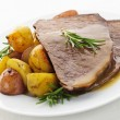 Roast beef and potatoes - Stok fotoraf