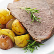 Roast beef and potatoes - Stock Photo