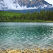 Mountain lake in Jasper National Park - Stock Photo