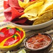 Tortilla chips and salsa — Stock Photo