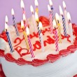 Birthday cake with lit candles — Foto de Stock