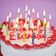 Birthday cake with lit candles — Foto Stock