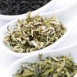 Assortment of dry tea leaves in spoons — Foto de Stock