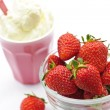 Bowl of strawberries with whipped cream — Stock Photo #4467044