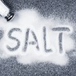 Salt spilled from shaker — Stock Photo #4467140